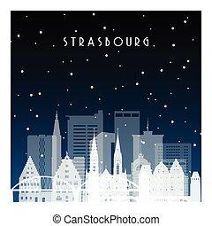 strasbourg., inverno, notte