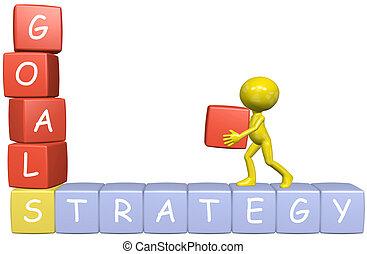 strategia affari, uomo, mete, cartone animato, costruisce, 3d