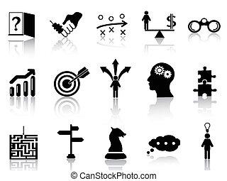 strategia, set, icone, affari