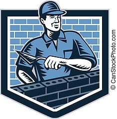 strato, lavoratore, muratore, retro, muratura, mattone