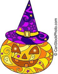 strega, intagliato, lineare, cappello, o, zucca, mosaico, batik., cricco, colorato, finestra, macchiato, variopinto, illustrazione, vetro, faccia, colorare, halloween, vettore, -, lanterna