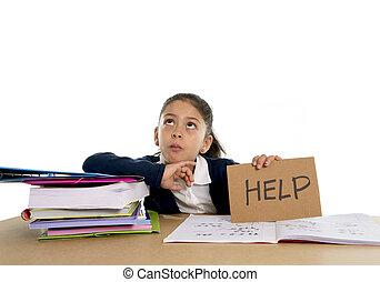 stress, concetto, aiuto, dolce, poco, scuola, chiedere, sotto, ragazza, annoiato, odio