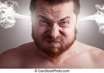 stress, concetto, arrabbiato, -, testa, che esplode, uomo