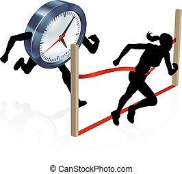 stress, concetto, correndo, contro, orologio
