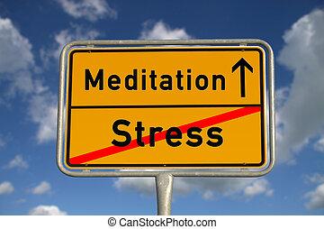 stress, meditazione, segno strada, tedesco