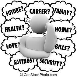 stress, nubi, fattori, pensare, pensiero, persona