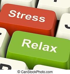 stress, rilassare, chiavi, lavoro, pressione, computer, linea, o, rilassamento, mostra