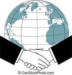 stretta di mano, affari, globale, accordo, trafficare, nazioni, icona