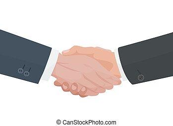 stretta di mano, finanza, affari, agreement., vettore, illustration.