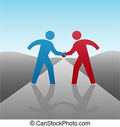 stretta di mano, persone affari, insieme, progresso, socio