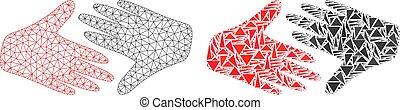 stretta di mano, rete, fiera, trafficare, polygonal, maglia, mosaico, icona