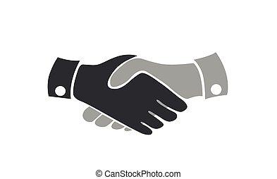 stretta di mano, white., icona, accordo, affari, vettore, appartamento, isolato