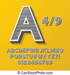striscia, alfabeto, stile, 4, retro