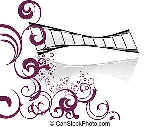 striscia, film, floreale