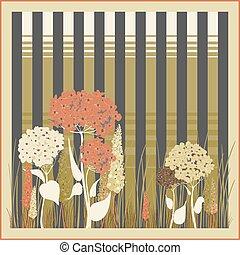 striscia, fondo, floreale, hortensia