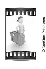 striscia, viaggiare, film, valigia, man., cuoio, 3d
