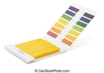striscie, colorare, tornasole, campioni, prova, ph