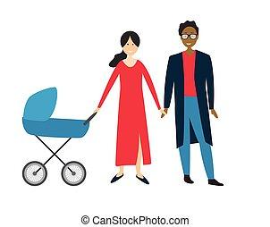 stroller., bambino, coppia, vettore, illustrazione