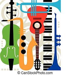 strumenti, astratto, vettore, musica