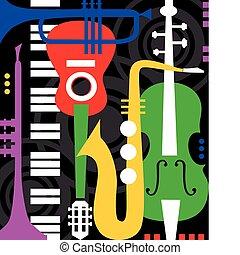 strumenti, nero, musica