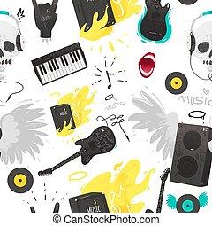 strumenti, pattern., seamless, roba, musica, roccia, musicale