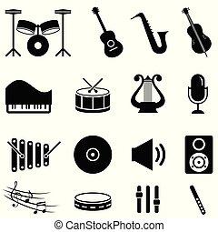 strumenti, set, musicale, icona