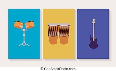 strumenti, set, musicale, icone