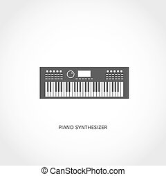 strumento, pianoforte, musicale, appartamento, icona