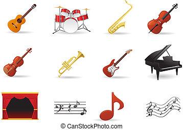 strumento, set, icone