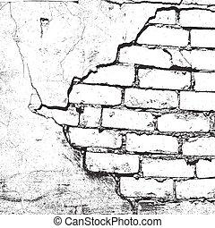 struttura, danneggiato, mattone