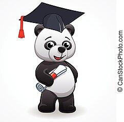 studente, vettore, cartone animato, laureandosi, panda
