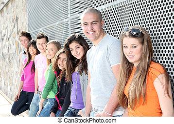 studenti, adolescenti, diverso, gruppo, o