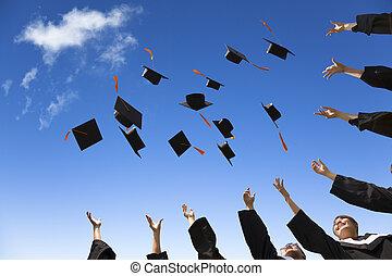 studenti, cappelli, graduazione, aria, festeggiare, lancio