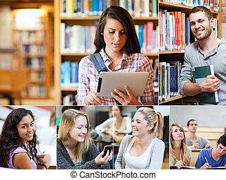 studenti, collage, allegro