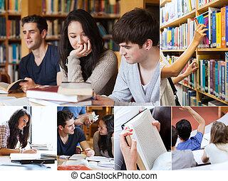 studenti, collage, biblioteca