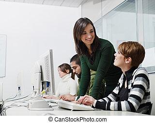 studenti, computer, insegnante, classe