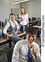 studenti, computer, università, tre, laboratorio