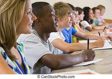 studenti, conferenza, università, università, ascolto