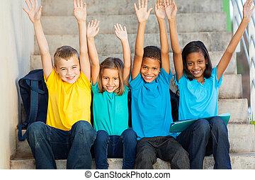 studenti, elevato, felice, primario, mani