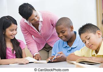 studenti, insegnante, porzione, focus), (selective, lettura, classe