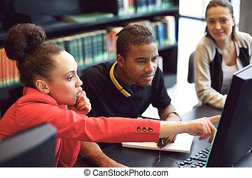 studenti, linea, gruppo, ricerca biblioteca