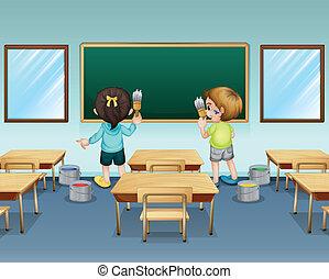 studenti, loro, pittura, aula