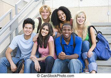 studenti, passi, università, gruppo, seduta