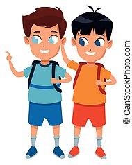 studenti, scuola, adorabile, infanzia, cartone animato