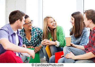 studenti, scuola, ridere, comunicare