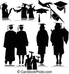 studenti, silhouette, vettore