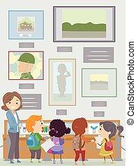 studenti, stickman, insegnante, museo, commemorativo, bambini
