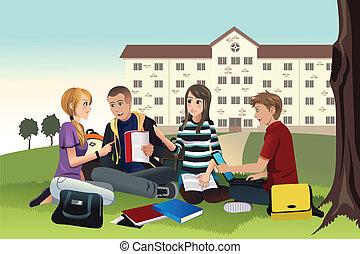 studenti, studiare, esterno, università