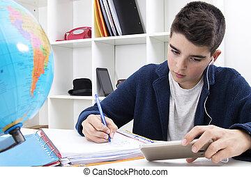 studiare, scuola, scrittura, bambino, scrivania