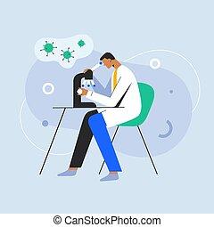 studiare, vettore, microscopio, coronavirus, sotto, cartone animato, ricerca, virus, lab., covid, character., dottore, medico